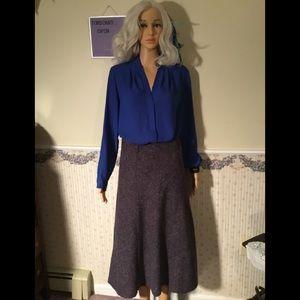 Purple tweed maxi lined size 8 skirt